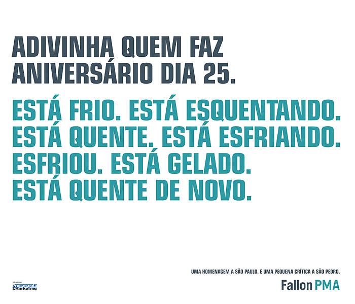Anuncio09 Aniversário de São Paulo | Diversas Agências